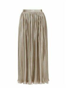 Saloni - Camille Metallic Poplin Midi Skirt - Womens - Silver