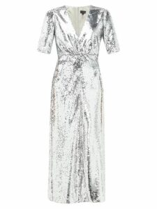 Saloni - Eden V Neck Sequinned Dress - Womens - Silver