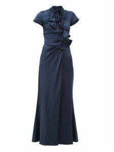 Saloni - Kelly Bow Trim Silk Charmeuse Maxi Dress - Womens - Navy