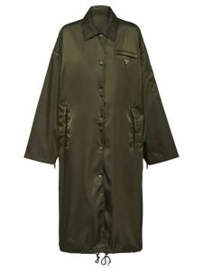 Prada pointed collar buttoned parka coat - Green