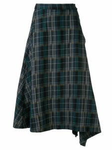 Y's check asymmetric skirt - Blue