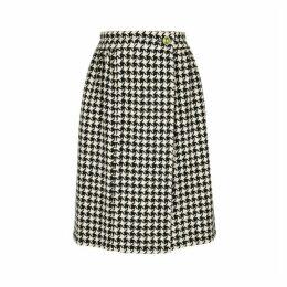 Gucci Houndstooth Wool-blend Wrap Skirt