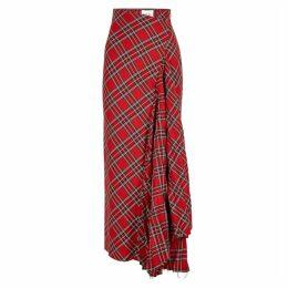 A.W.A.K.E MODE Sahmain Tartan Twill Maxi Skirt