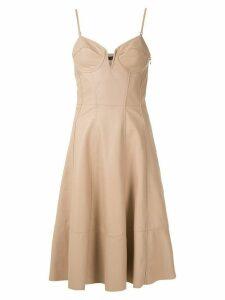 Tufi Duek flared leather dress - Neutrals