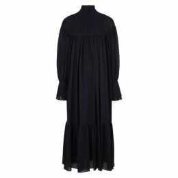 Chloé Navy Silk Georgette Maxi Dress