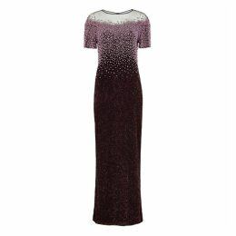 Pamella Roland Plum Bead-embellished Sequin Gown