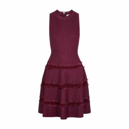 MILLY Plum Fringed Stretch-jersey Mini Dress