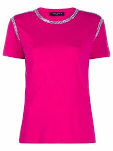 Frankie Morello rhinestone-trimmed crew-neck T-shirt - Pink