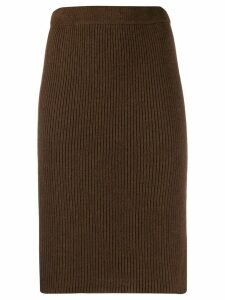 Federica Tosi ribbed knit pencil skirt - Brown