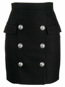 Balmain button detail high waisted skirt - Black