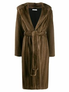 Inès & Maréchal hooded fur coat - Brown