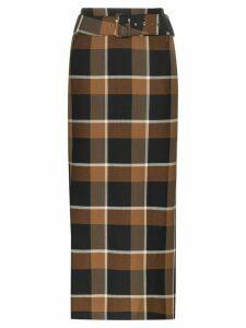 Staud Simone plaid print skirt - Brown