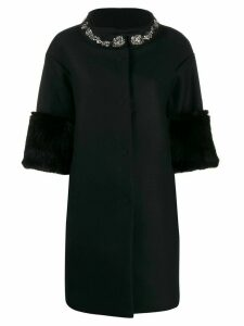 Twin-Set embroidered coat - Black