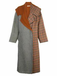 Oscar de la Renta mixed pattern oversized coat - Brown