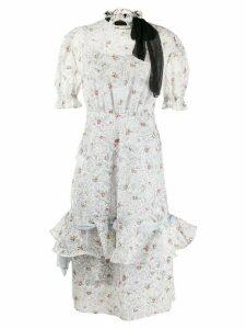 Miu Miu pussy bow detail frill dress - White