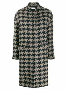 Peserico geometric pattern coat - Brown