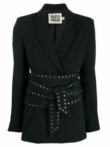 Fausto Puglisi stud-embellished tie-fastening blazer - Black