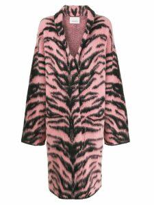 Laneus long tiger-pattern coat - Pink