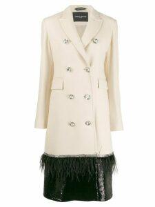 Frankie Morello decorative buttoned embellished coat - White
