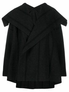 Issey Miyake oversized striped coat - Black
