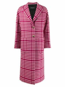 Frankie Morello gingham check patterned boxy coat - PINK