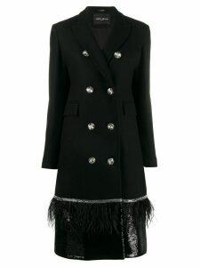 Frankie Morello decorative button embellished coat - Black