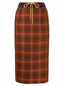 Aalto high-waist drawstring check skirt - Orange