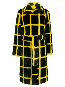 STAND STUDIO checked faux fur coat - Black