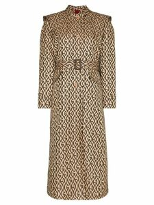 Gucci belted monogram-print trench coat - Neutrals