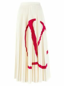 Valentino V logo pleated midi skirt - White