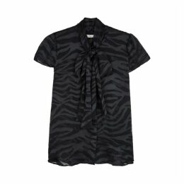 Alice + Olivia Jeannie Black Tiger-devoré Chiffon Blouse