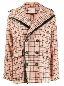 Plan C double-breasted check coat - Pink