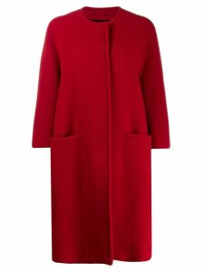 Gianluca Capannolo collarless cocoon coat - Red