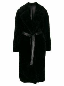 Blancha belted faux-fur coat - Black