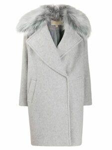 Michael Michael Kors fur trim oversized coat - Grey