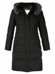 Loveless padded trimmed puffer coat - Black