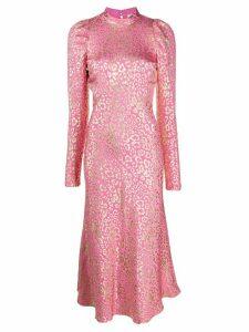 Temperley London Sunset leopard-jacquard midi dress - Pink