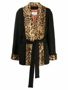 Gucci leopard panels coat - Black