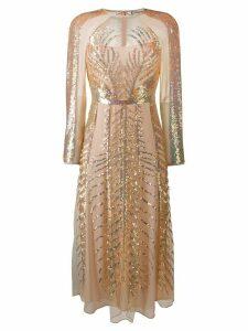 Temperley London Dusk sequin-embellished silk dress - NEUTRALS