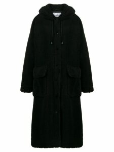 STAND STUDIO hooded shearling coat - Black