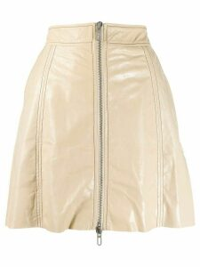Drome zipped leather a-line skirt - Neutrals