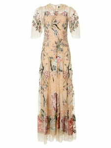 Biyan floral-embroidered tulle gown - Neutrals