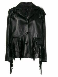 Ermanno Scervino fringed leather coat - Black