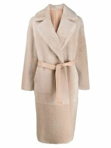 Blancha belted double-breasted coat - PINK