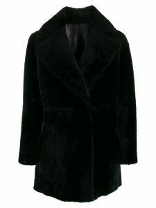 Blancha faux-fur oversized coat - Black