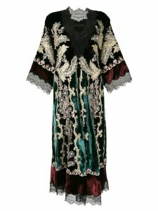 Biyan embroidered velvet dress - Black