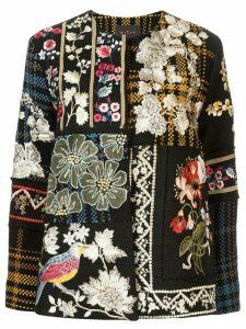 Biyan floral-embroidered tweed jacket - Black