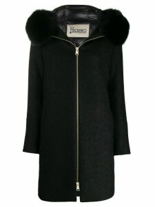 Herno hooded felt coat - Black