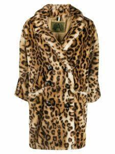 Alessandra Chamonix leopard oversized double-breasted coat - Brown