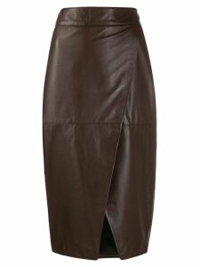 L'Autre Chose wrapped pencil skirt - Brown